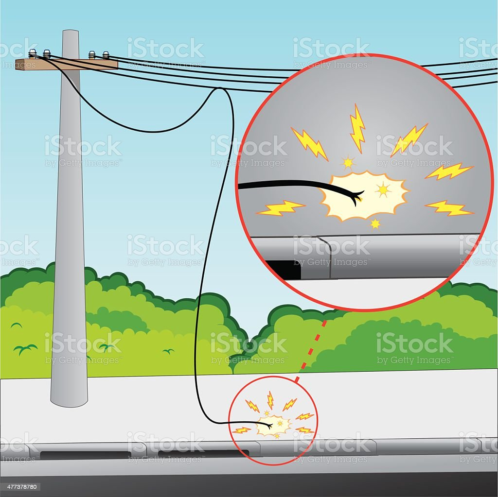 Network with electrical problems, broken wire and exposed vector art illustration