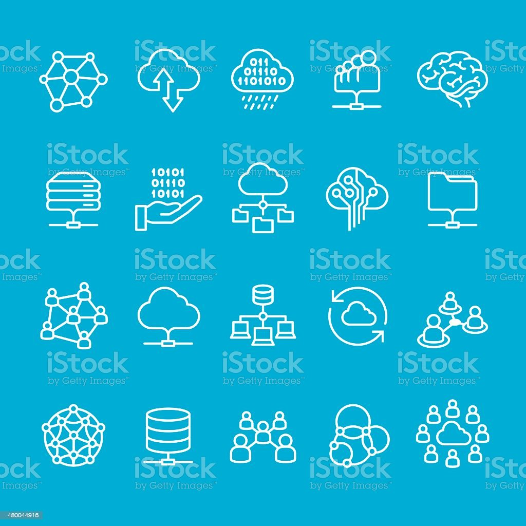 Networking and Cloud Computing icons collection vector art illustration