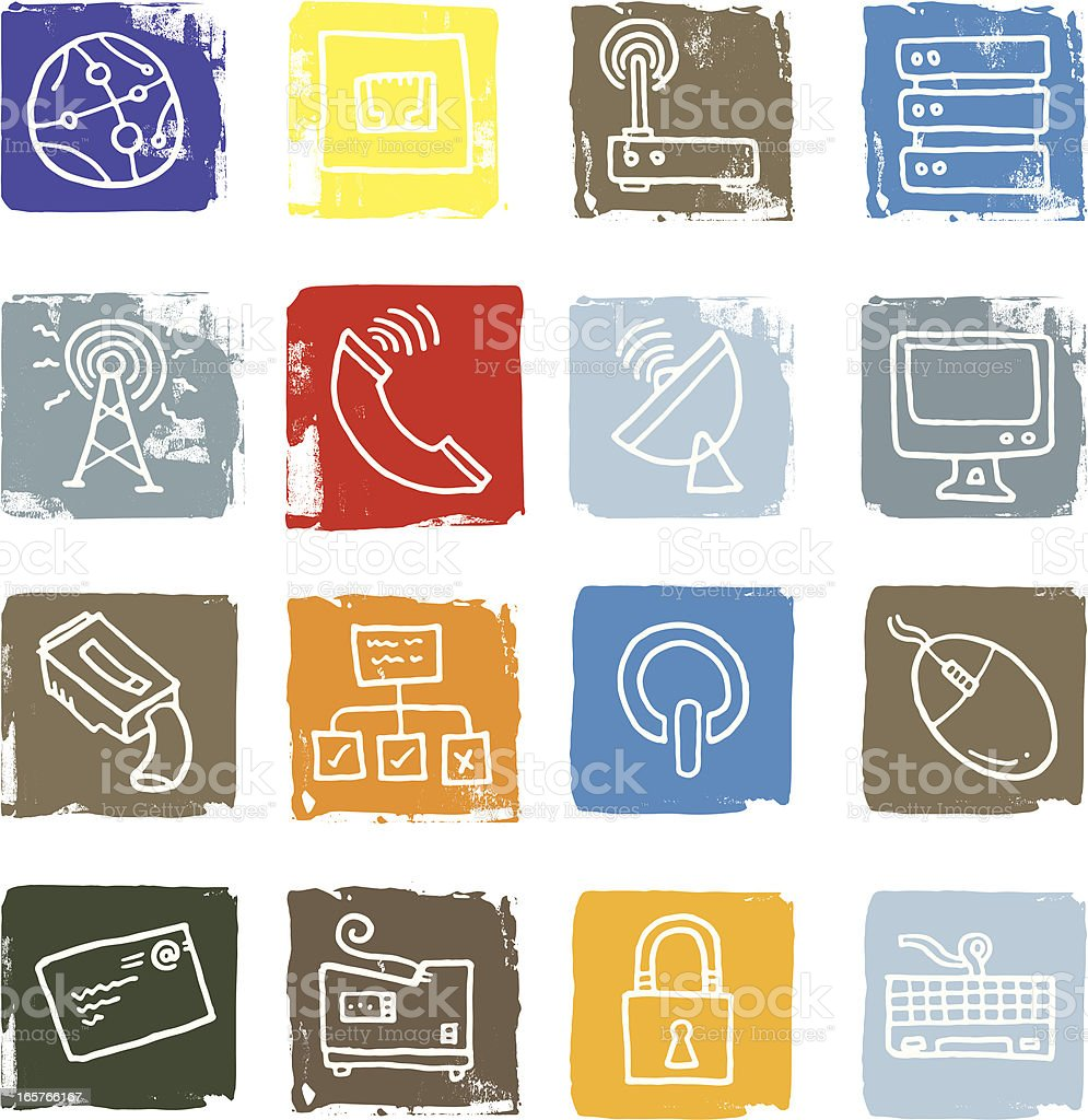Networking and computer icons royalty-free stock vector art