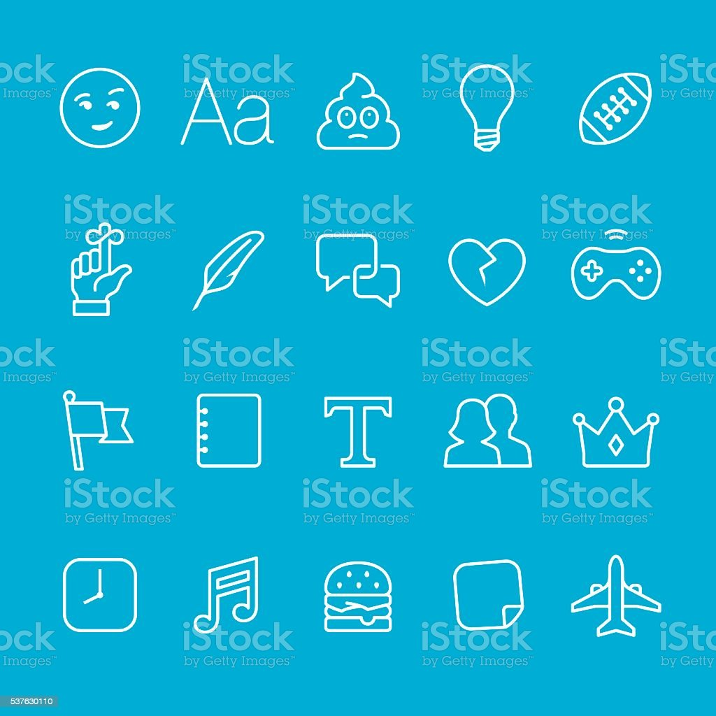 Networking and Messaging outline icons vector art illustration