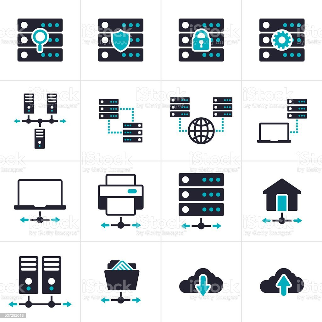 Networking and Server Symbols and Icons vector art illustration