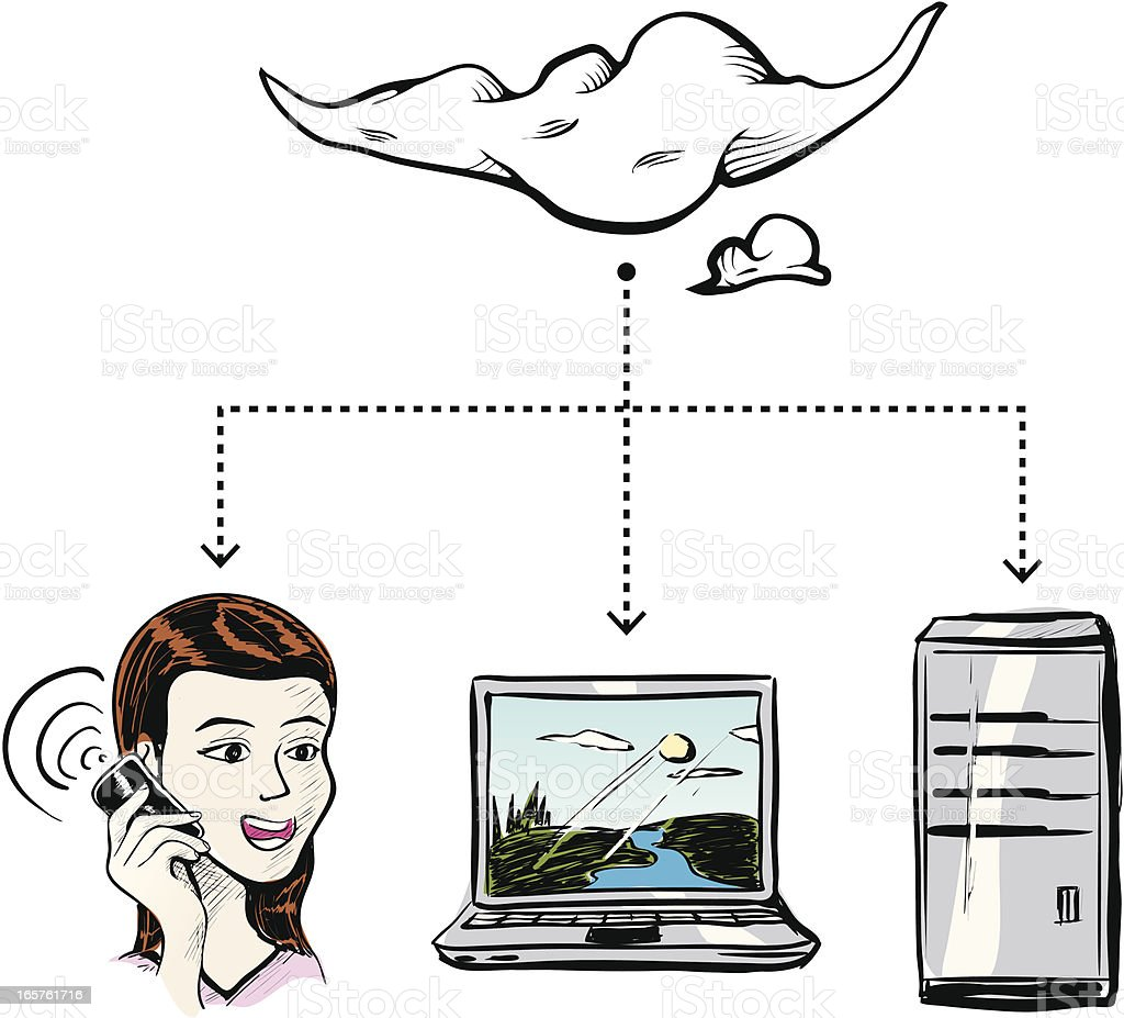 Networking Cloud Communication vector art illustration