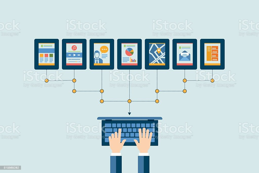 Networking concept. Flat design for web sites and infographic design vector art illustration