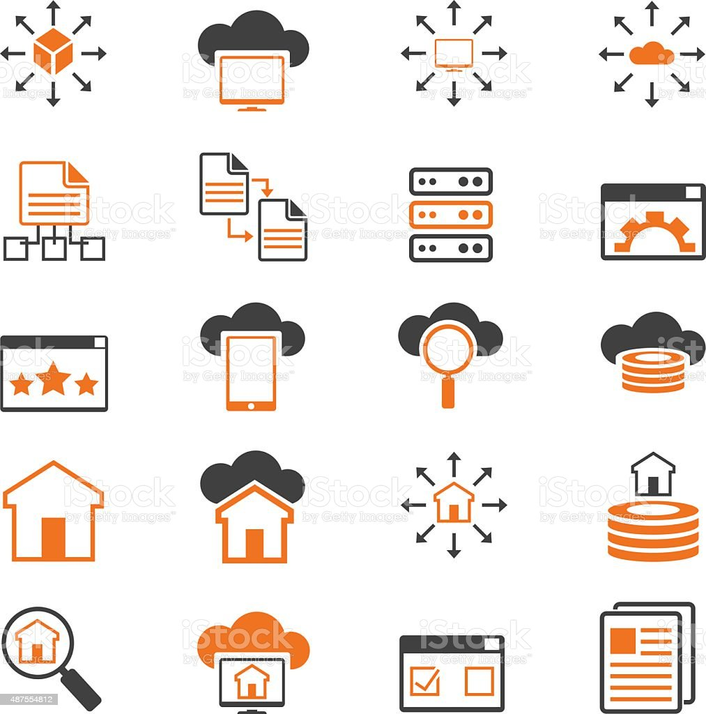 Networking icon set vector art illustration