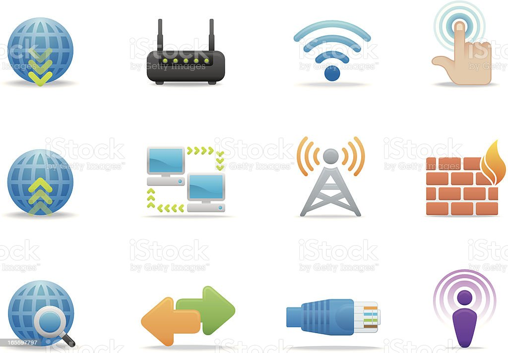 Networking & Internet icons | Premium Matte series royalty-free stock vector art