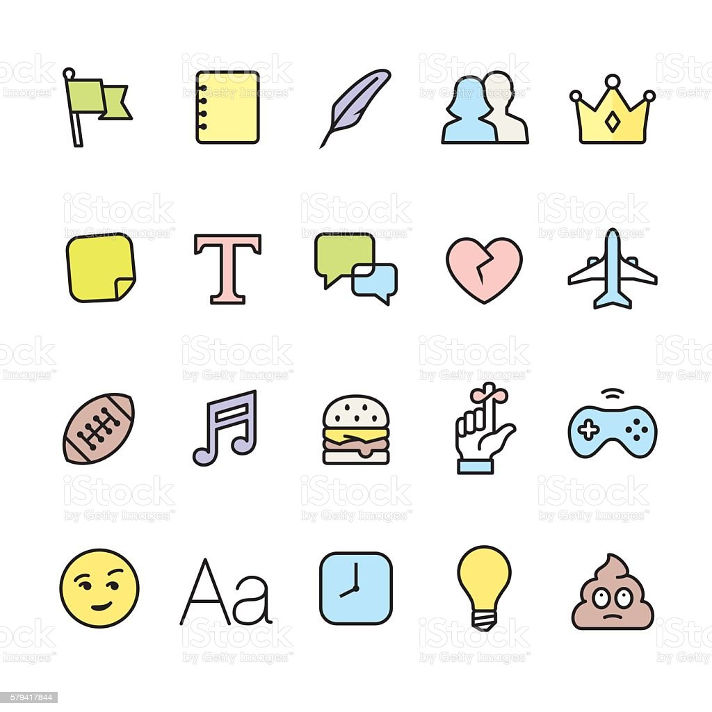Networking pack - outline color vector icons vector art illustration