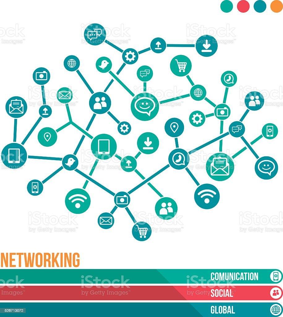 Networking presentation vector art illustration