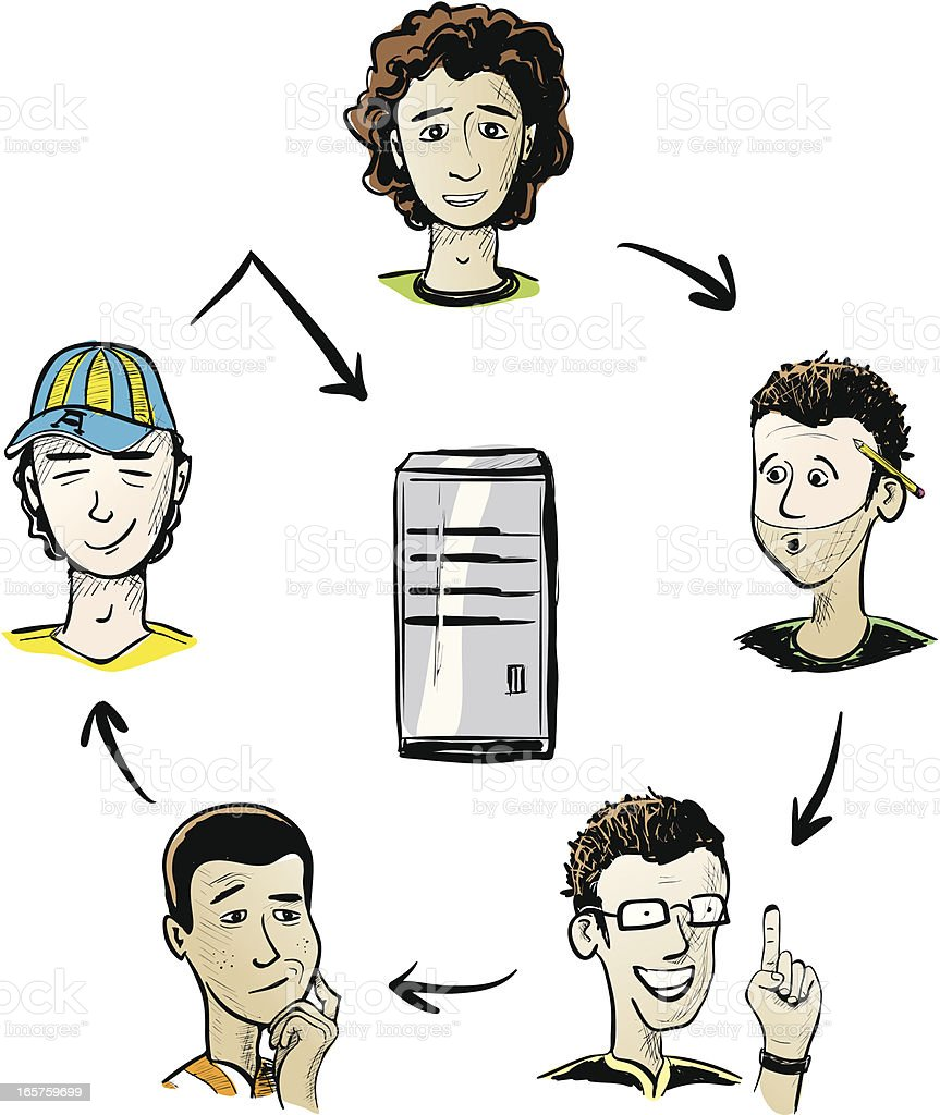 Networking Servers vector art illustration