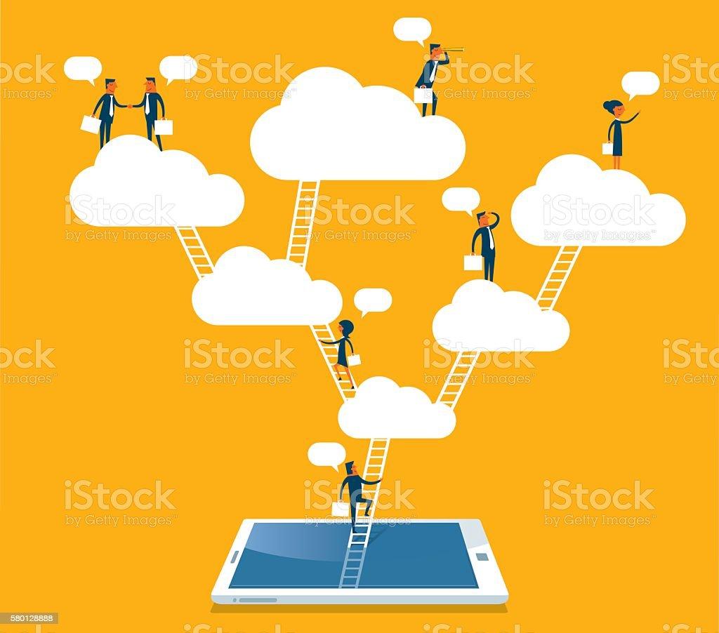 Networking vector art illustration
