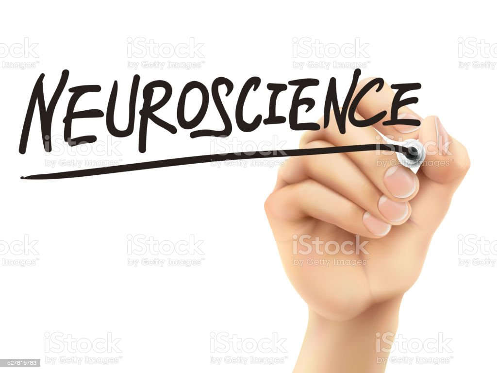 neuroscience word written by 3d hand vector art illustration