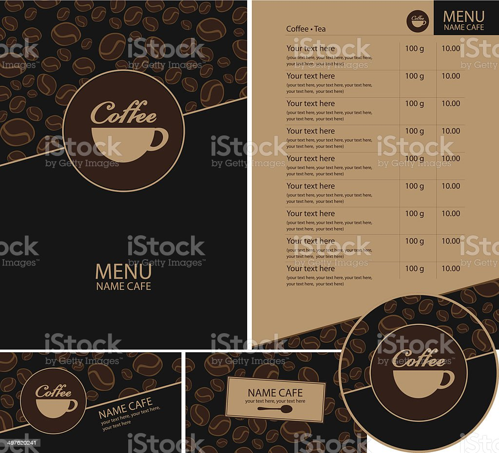 Neutral coffee menu with a modern touch royalty-free stock vector art