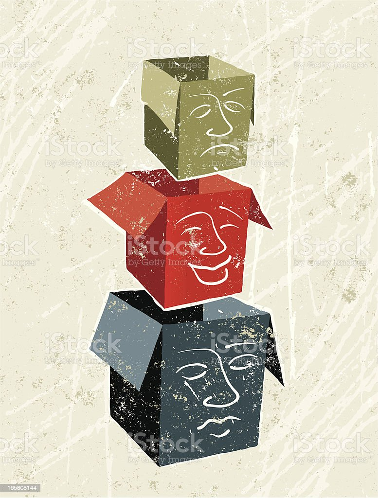 Neutral, Happy and Sad Faces on Three boxes vector art illustration