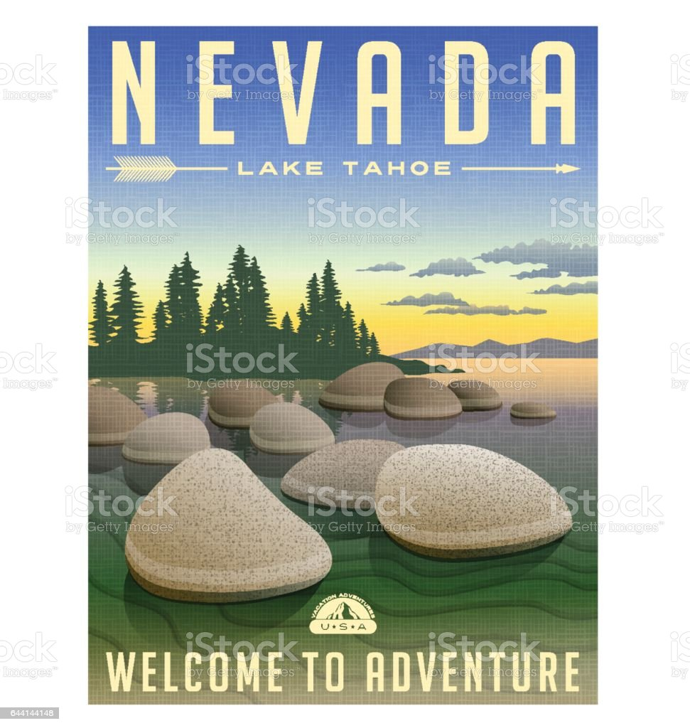 Nevada, Lake Tahoe United States retro travel poster or luggage sticker vector illustration vector art illustration