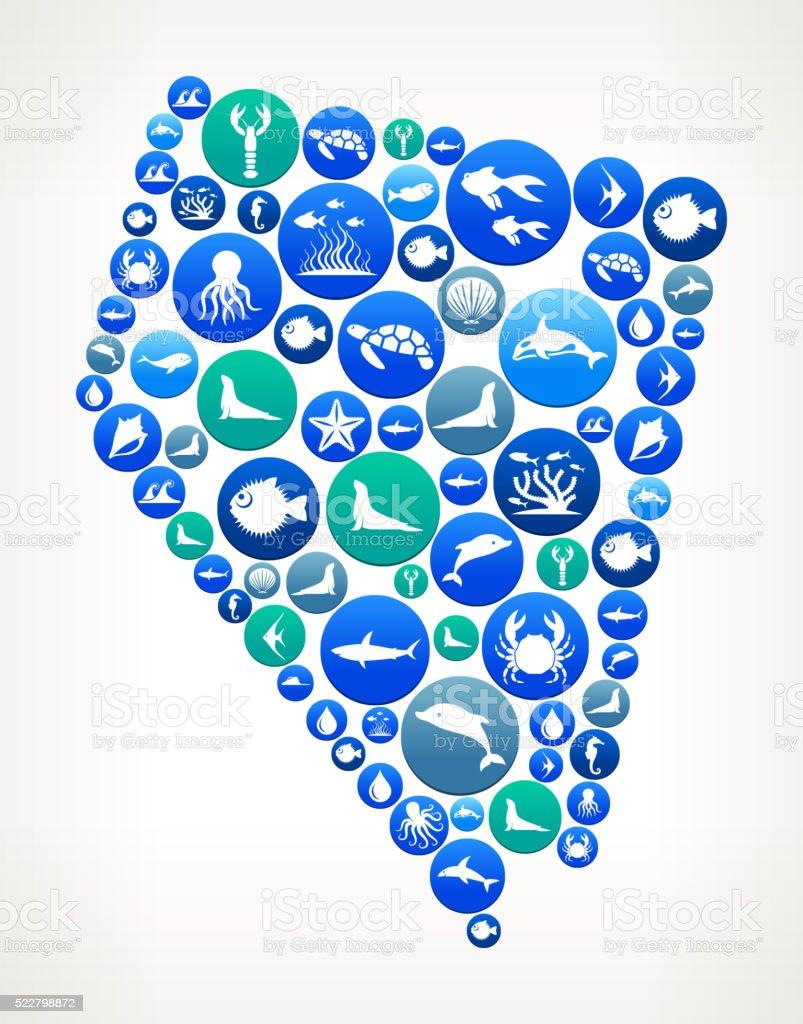 Nevada Sea and Marine Life Button Pattern vector art illustration