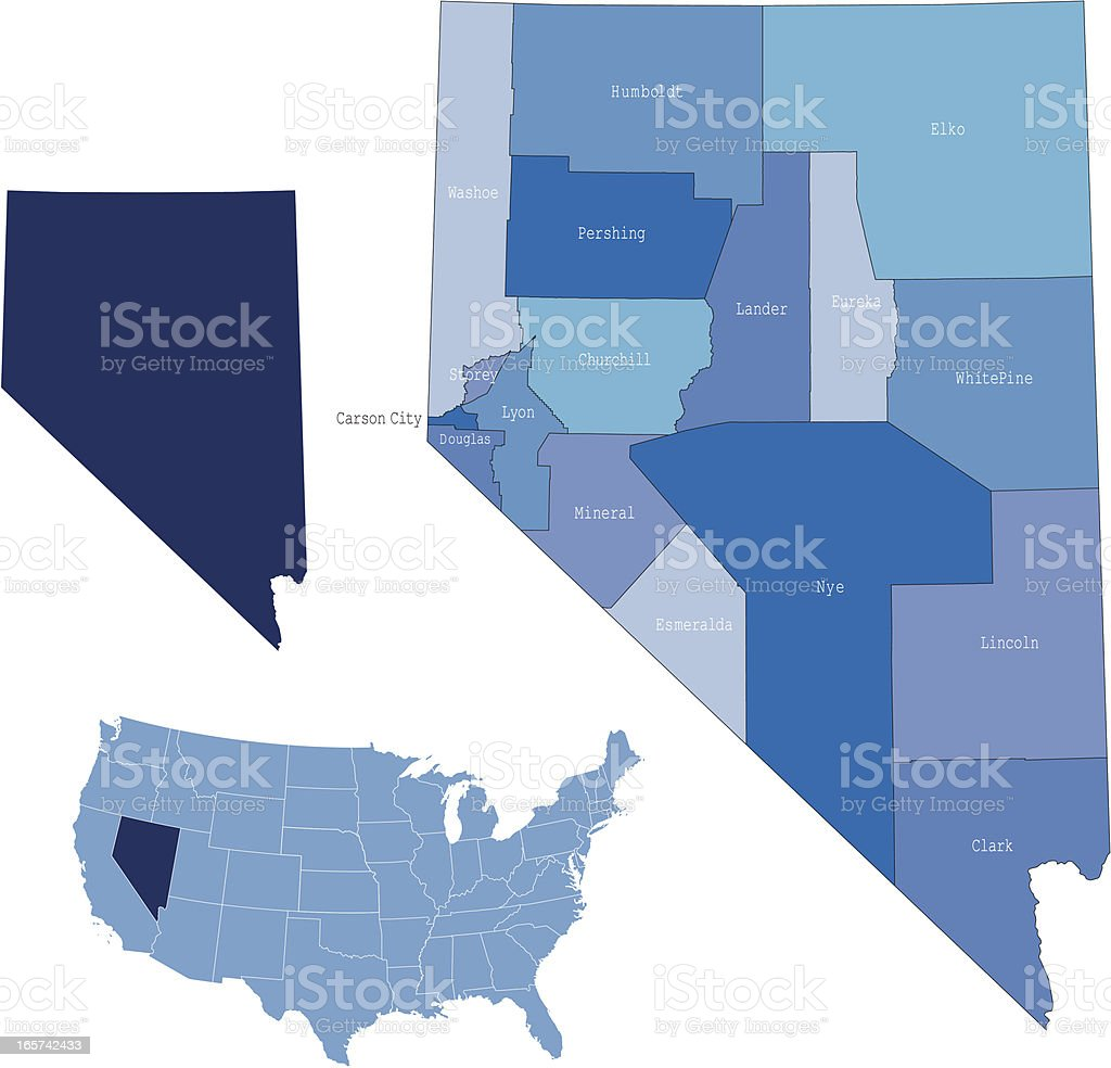 Nevada state & counties map royalty-free stock vector art