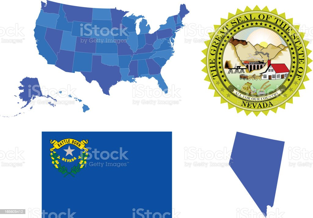 Nevada state set royalty-free stock vector art