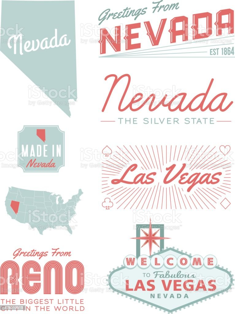 Nevada Typography vector art illustration