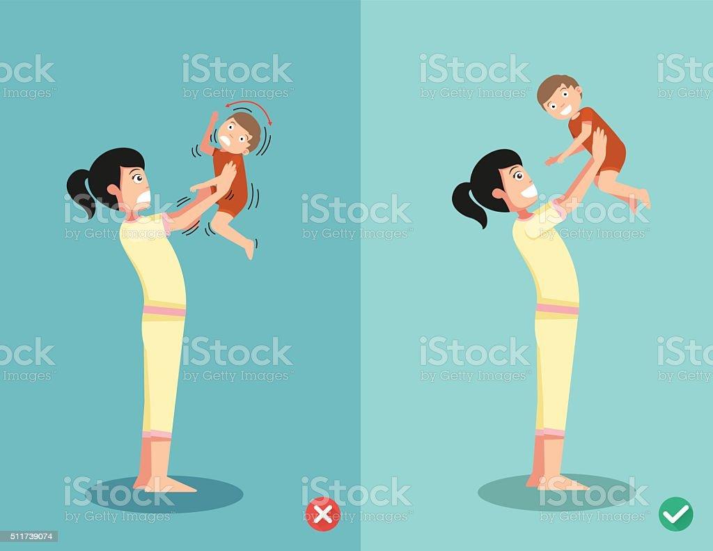 never shake a baby vector art illustration