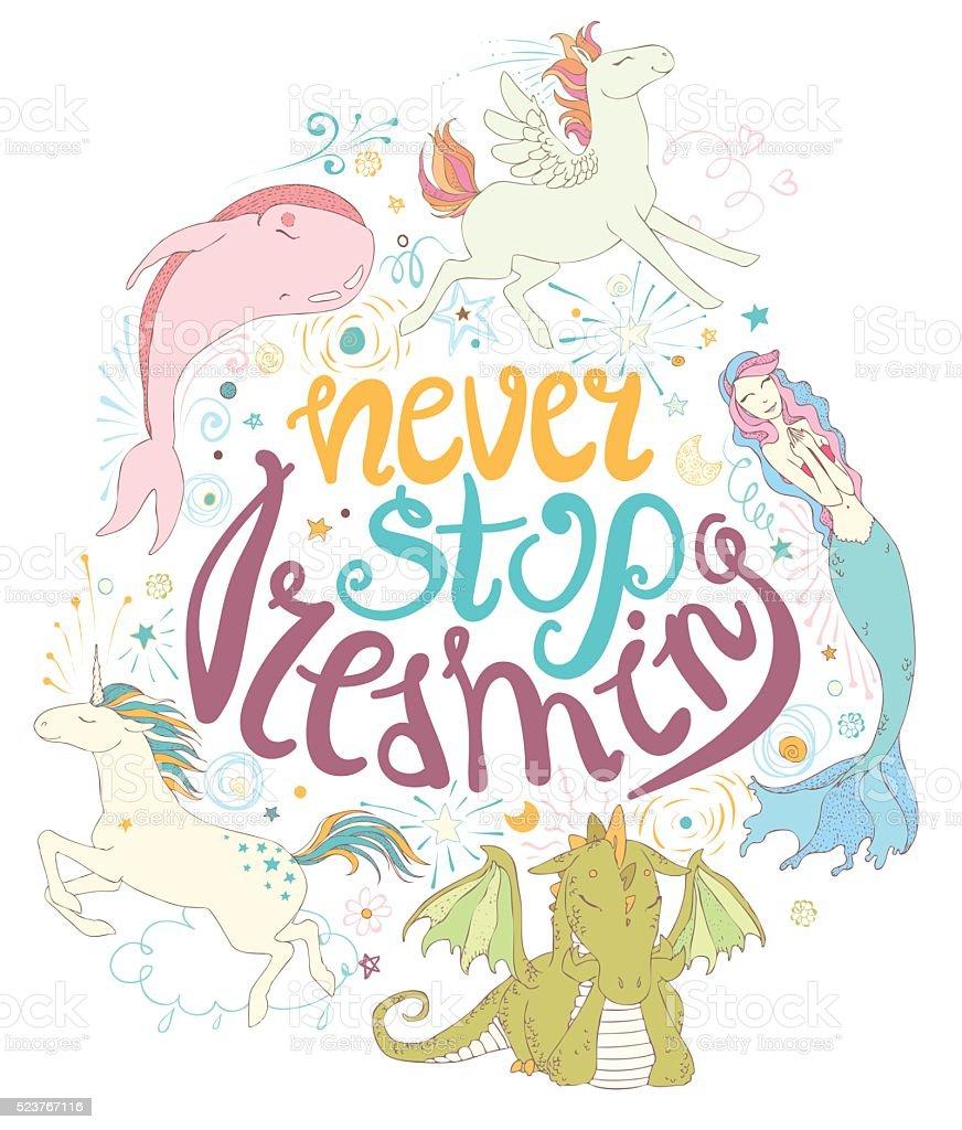 Never stop dreaming card. vector art illustration