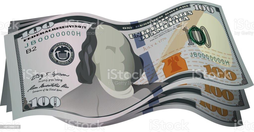 New 100 US dollar cash vector art illustration