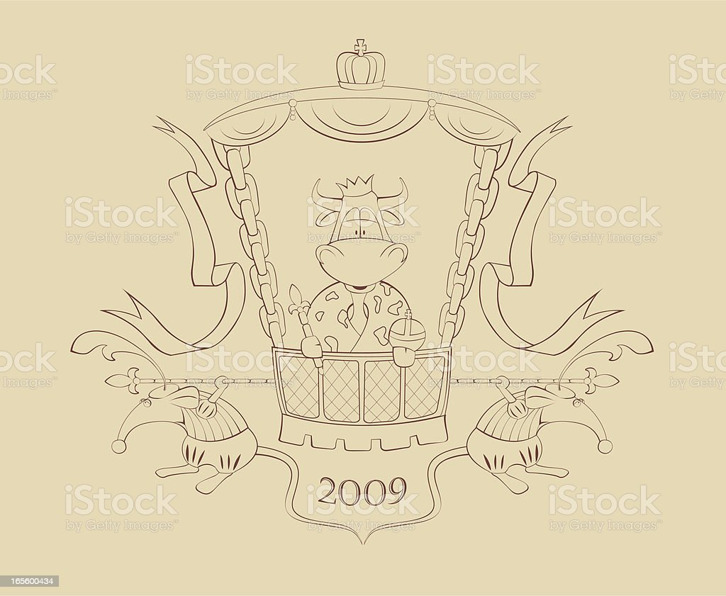 New 2009  year bull with rats as servants vector art illustration