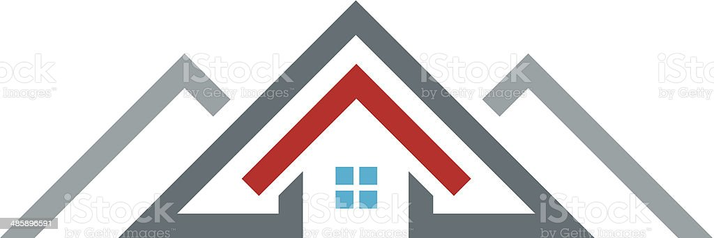 New age modern house real estate construction building logo icon vector art illustration