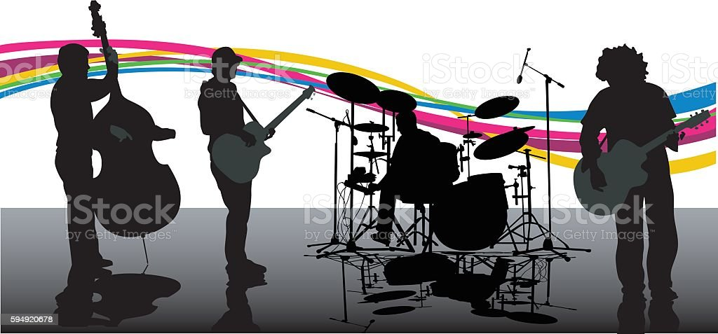 New Age Rock Band Music vector art illustration