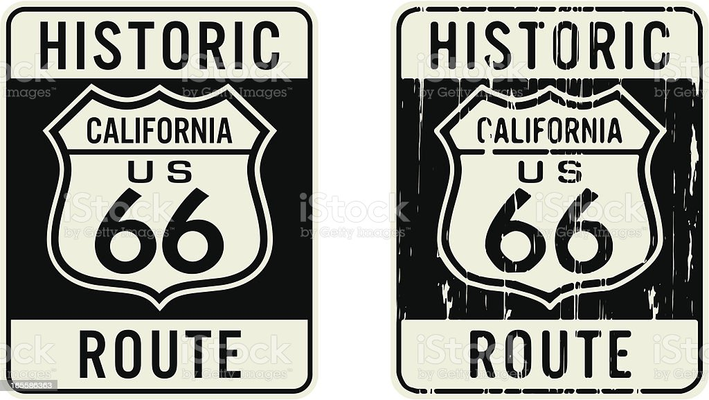 New and old California Route 66 signs vector art illustration