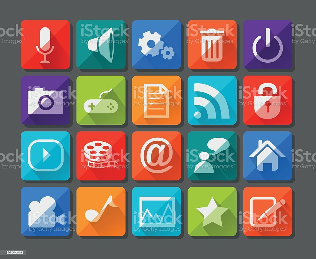 New app icons set in flat royalty-free stock vector art