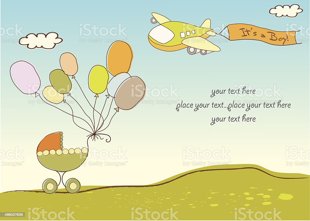 new baby announcement card with airplane vector art illustration