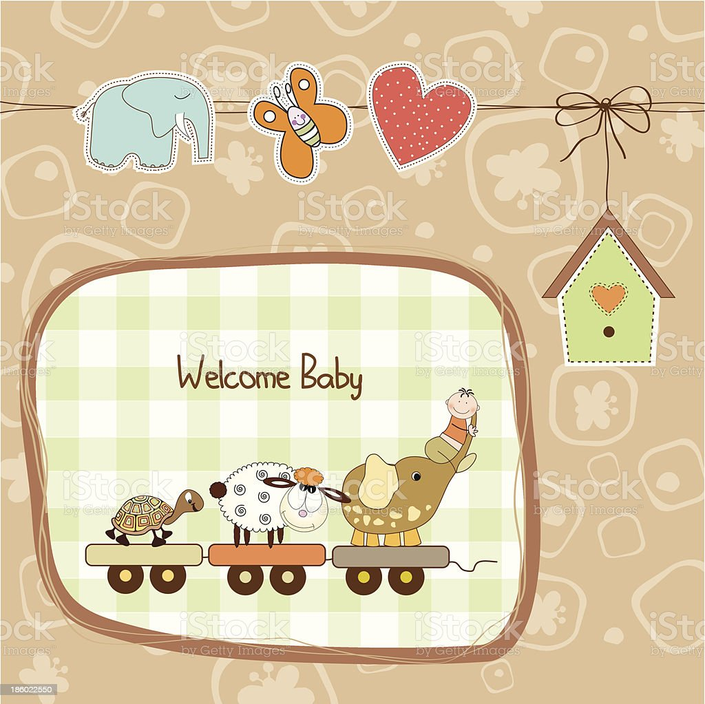 new baby announcement card with animal's train royalty-free stock vector art