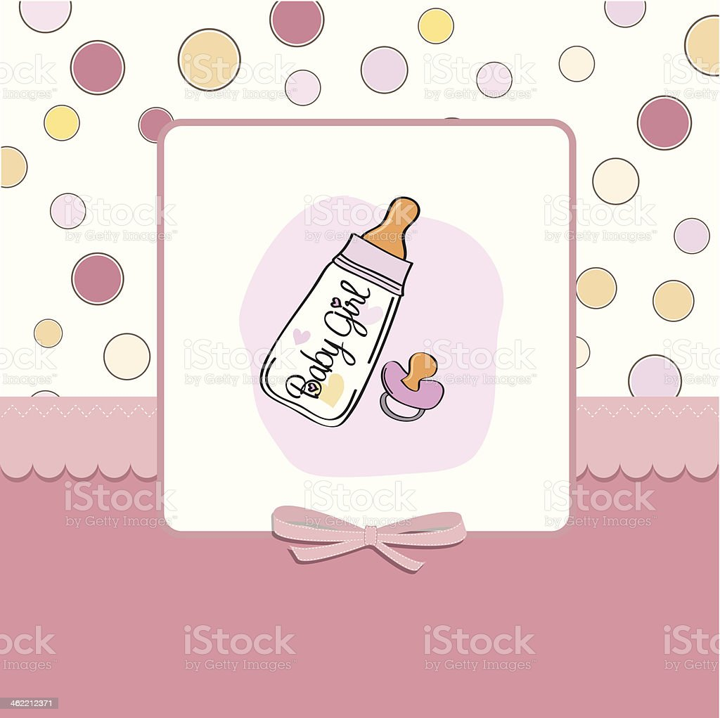 new baby girl announcement card with milk bottle and pacifier vector art illustration