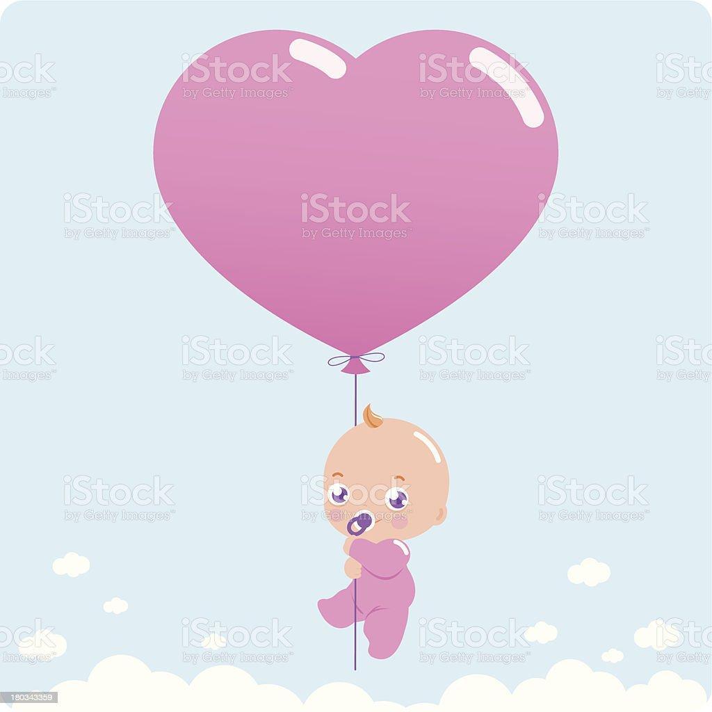 New baby girl vector art illustration