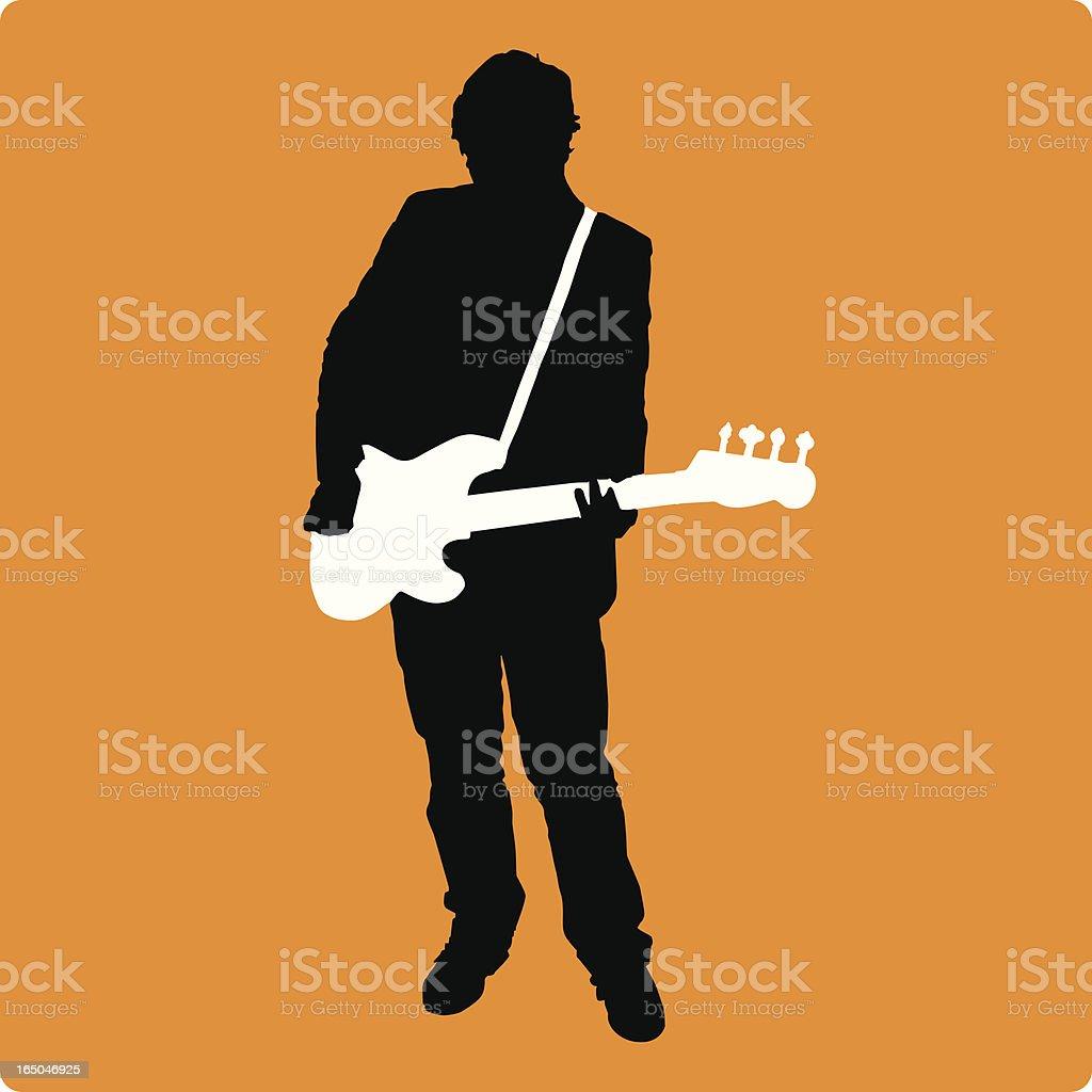 New Bassist Silhouette (vector illustration) vector art illustration