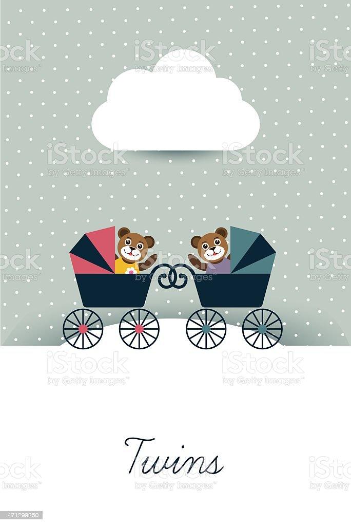 New born card. Twins concept. vector art illustration