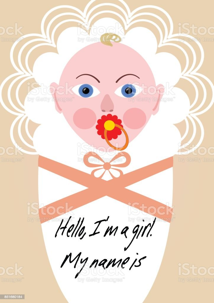 New born girl announcement template, baby cartoon in pink design vector art illustration