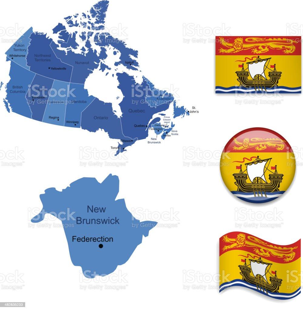 New Brunswick province set royalty-free stock vector art