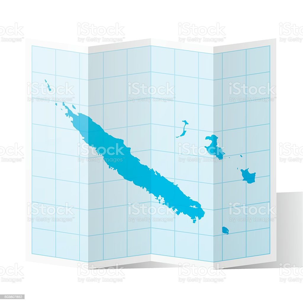 New Caledonia Map folded, isolated on white Background vector art illustration