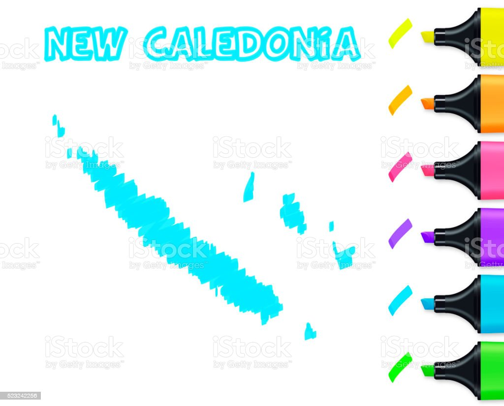 New Caledonia map hand drawn on white background, blue highlighter vector art illustration
