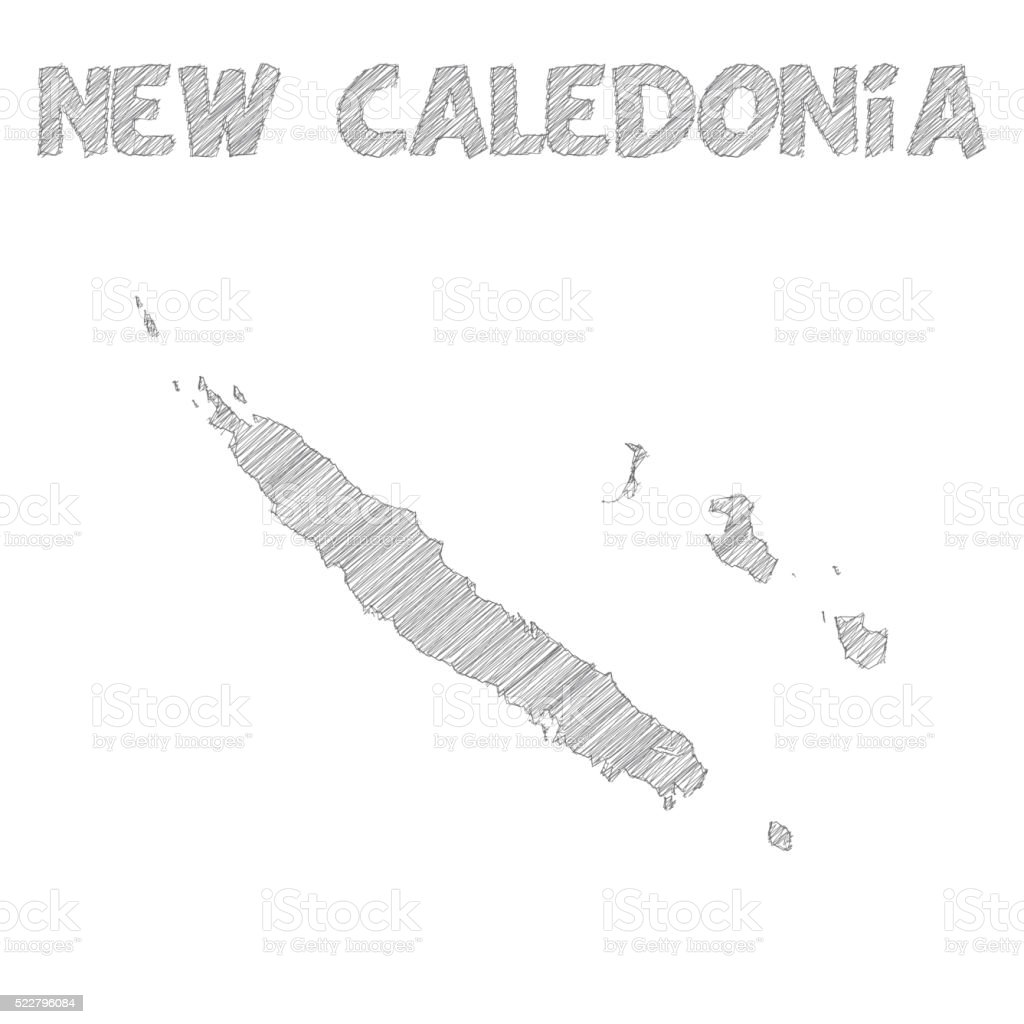 New Caledonia map hand drawn on white background vector art illustration