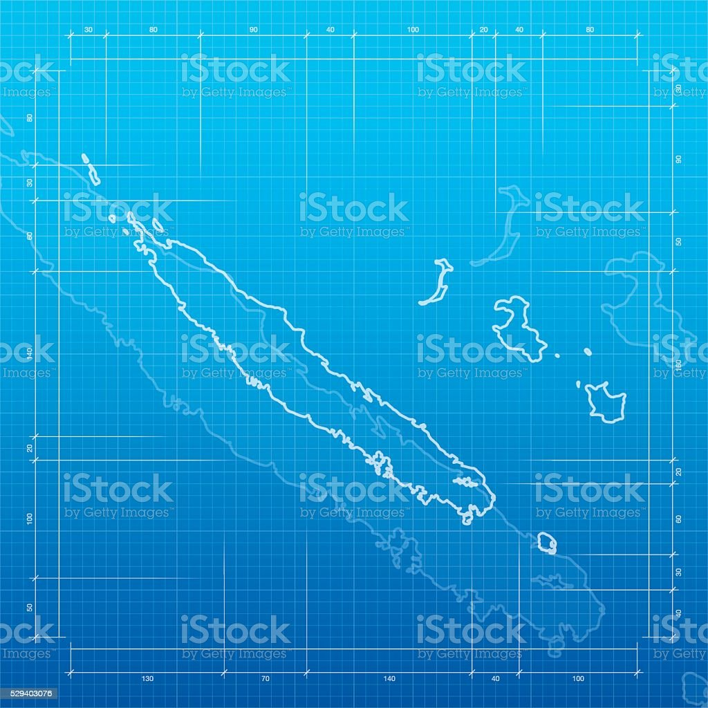 New Caledonia map on blueprint background vector art illustration