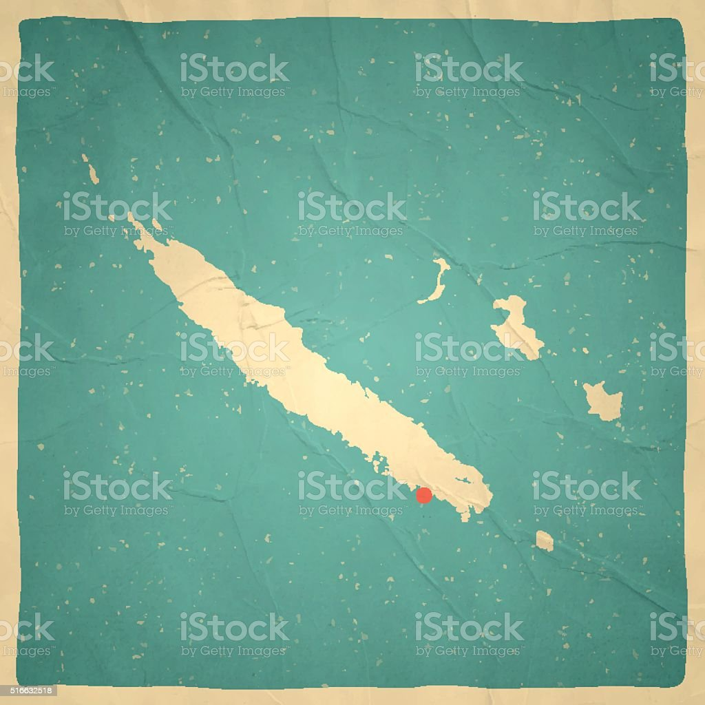 New Caledonia Map on old paper - vintage texture vector art illustration
