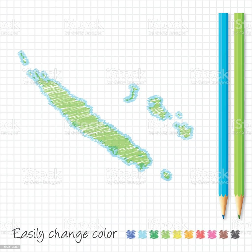 New Caledonia map sketch with color pencils, on grid paper vector art illustration