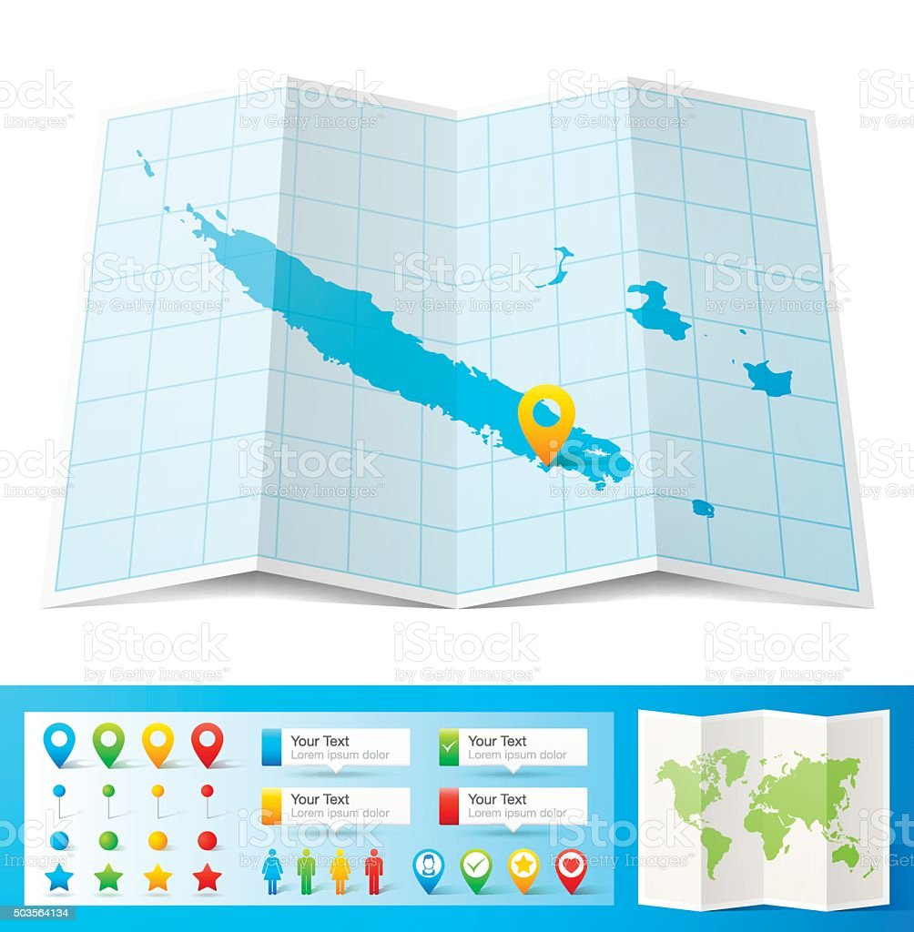 New Caledonia Map with location pins isolated on white Background vector art illustration