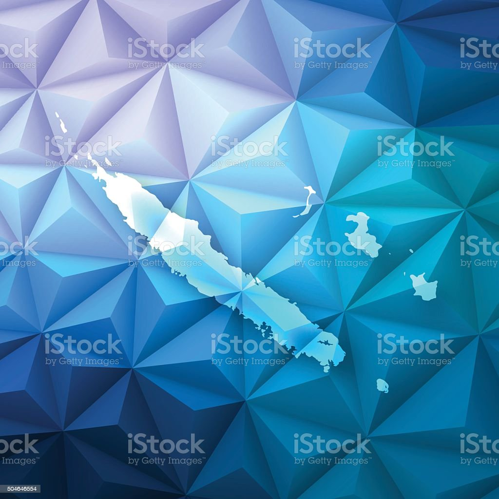 New Caledonia on Abstract Polygonal Background - Low Poly, Geometric vector art illustration