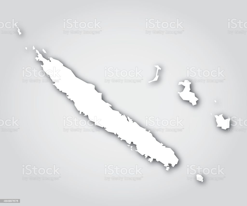 New Caledonia Silhouette White vector art illustration