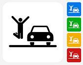 New Car Icon Flat Graphic Design