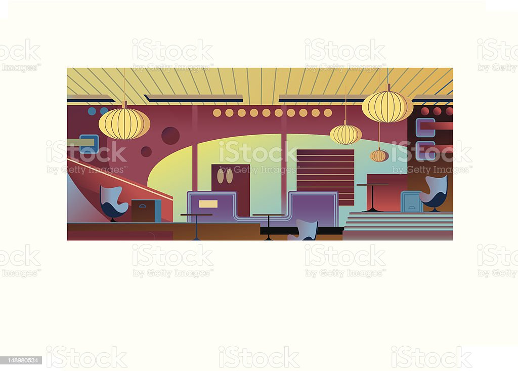 New Club Interior vector art illustration