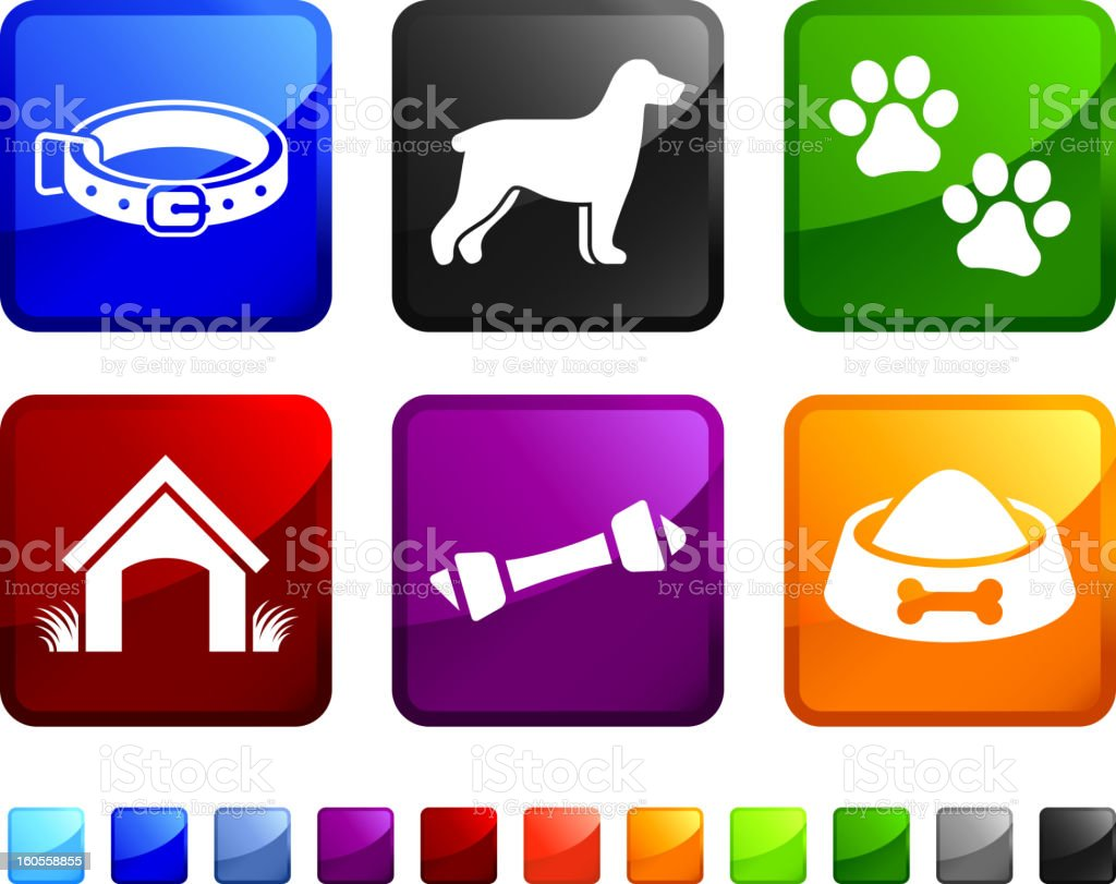 New Dog and Pet Supplies vector icon set stickers royalty-free stock vector art
