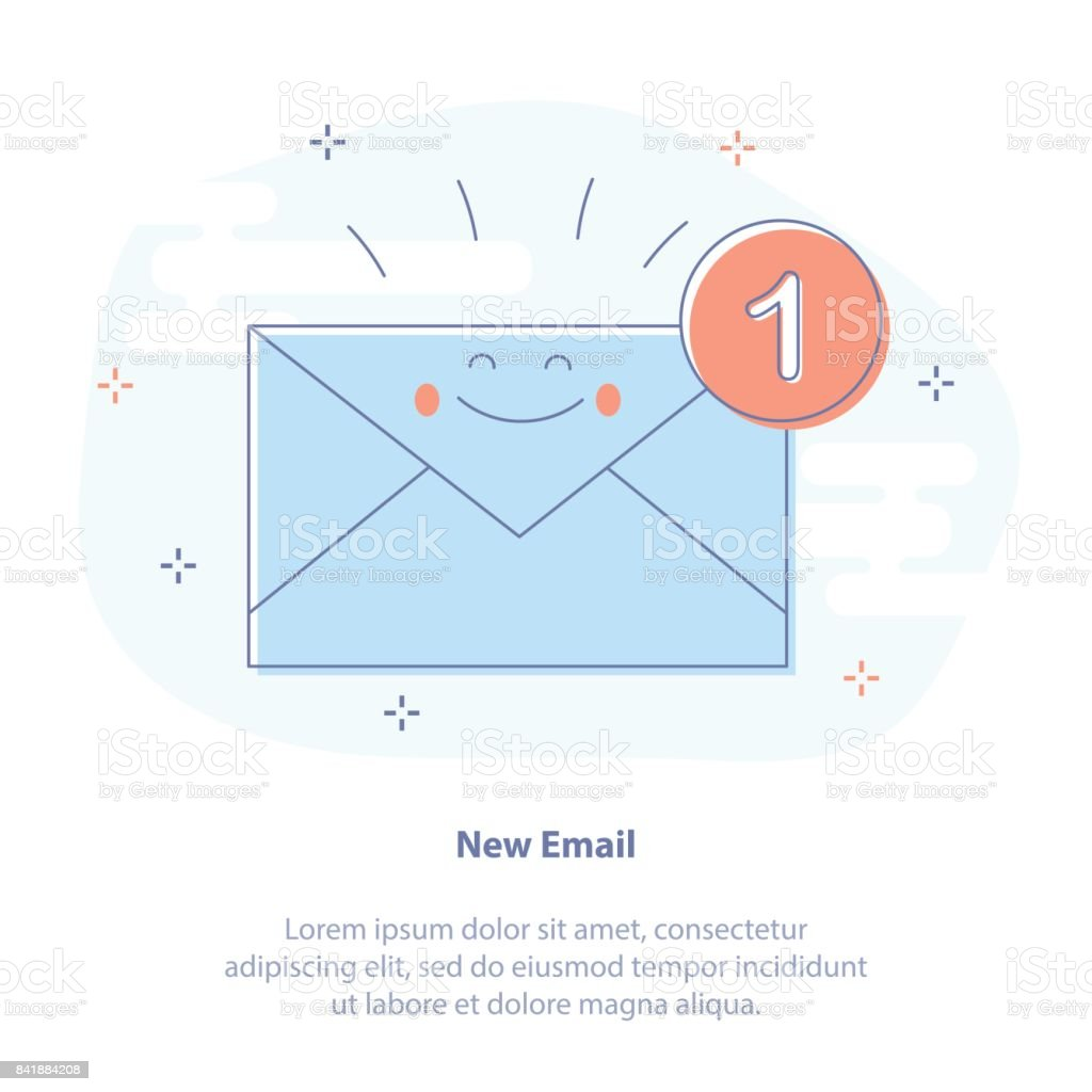 New Email, Inbox Message, SMS vector art illustration